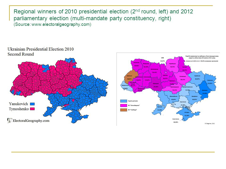 2014 presidential election (1 st and 2 nd places by constituencies, above) and parliamentary election (multi-mandate constituency leaders and Opposition Bloc returns by regions, bellow) (Source: www.electoralgeography.com)