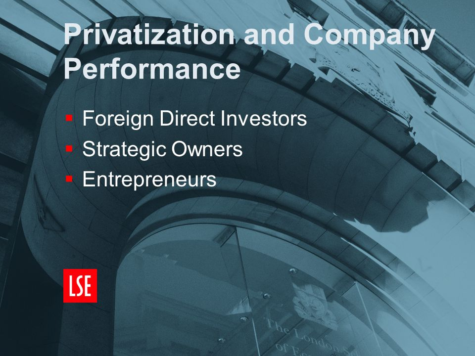 Privatization and Company Performance  Foreign Direct Investors  Strategic Owners  Entrepreneurs