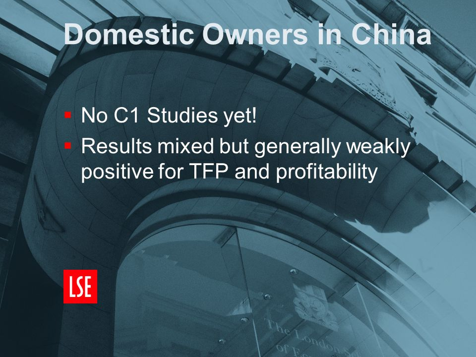 Domestic Owners in China  No C1 Studies yet.