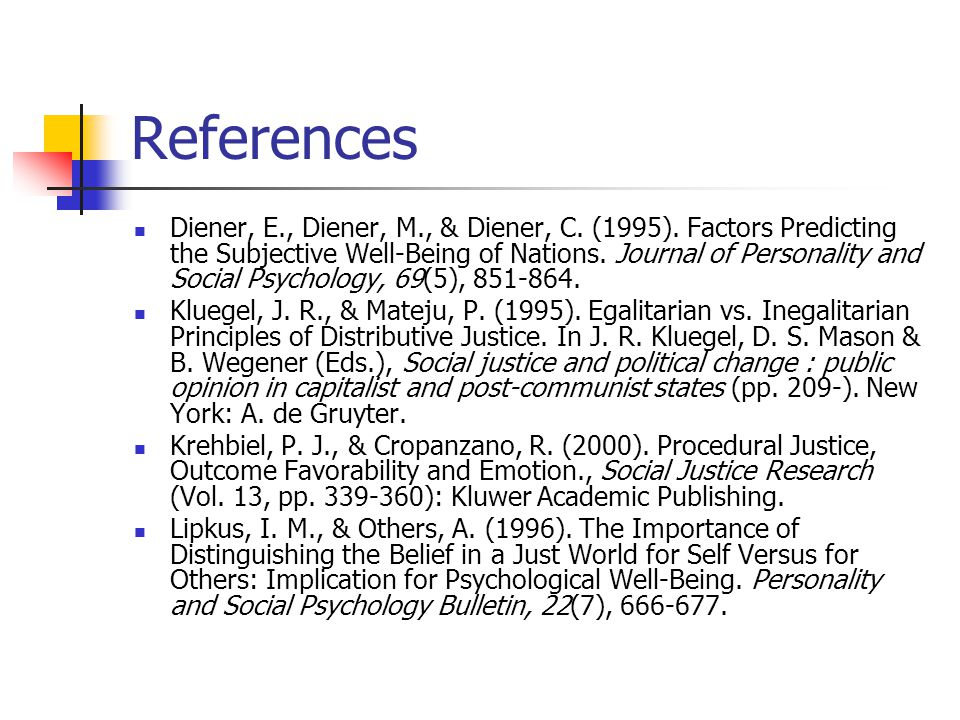 References Diener, E., Diener, M., & Diener, C. (1995). Factors Predicting the Subjective Well-Being of Nations. Journal of Personality and Social Psy