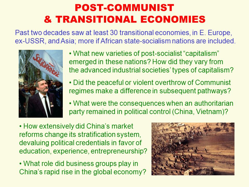 POST-COMMUNIST & TRANSITIONAL ECONOMIES Past two decades saw at least 30 transitional economies, in E. Europe, ex-USSR, and Asia; more if African stat