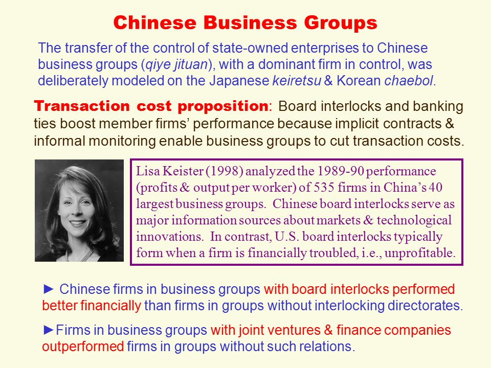 Chinese Business Groups The transfer of the control of state-owned enterprises to Chinese business groups (qiye jituan), with a dominant firm in control, was deliberately modeled on the Japanese keiretsu & Korean chaebol.