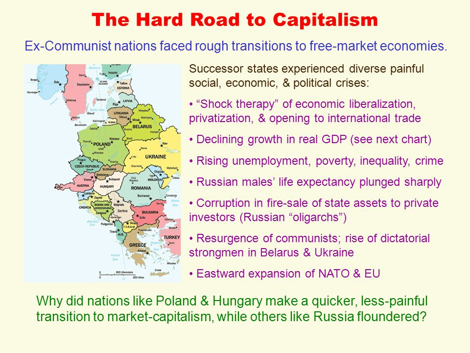 The Hard Road to Capitalism Ex-Communist nations faced rough transitions to free-market economies.