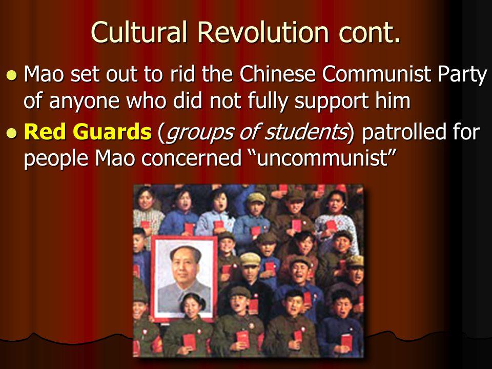 Cultural Revolution cont.
