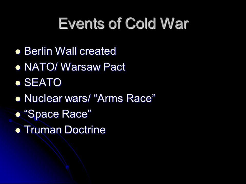 "Events of Cold War Berlin Wall created Berlin Wall created NATO/ Warsaw Pact NATO/ Warsaw Pact SEATO SEATO Nuclear wars/ ""Arms Race"" Nuclear wars/ ""Ar"
