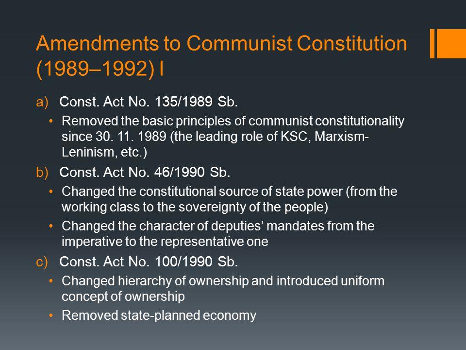 Amendments to Communist Constitution (1989–1992) II d)Const.