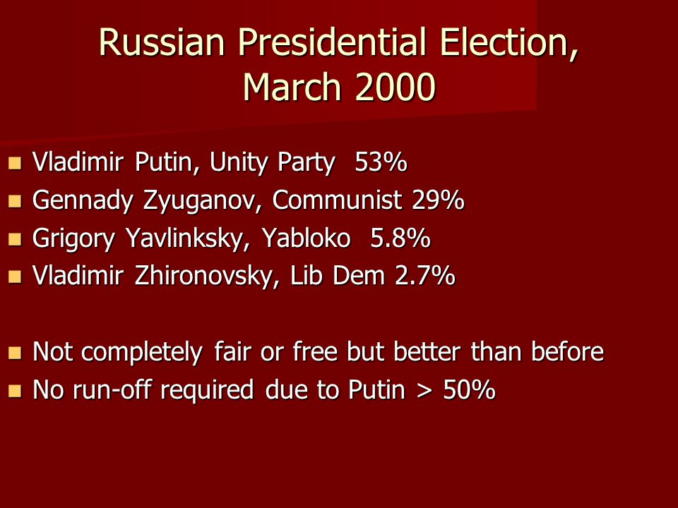 Russian Presidential Election, March 2000 Vladimir Putin, Unity Party 53% Vladimir Putin, Unity Party 53% Gennady Zyuganov, Communist 29% Gennady Zyuganov, Communist 29% Grigory Yavlinksky, Yabloko 5.8% Grigory Yavlinksky, Yabloko 5.8% Vladimir Zhironovsky, Lib Dem 2.7% Vladimir Zhironovsky, Lib Dem 2.7% Not completely fair or free but better than before Not completely fair or free but better than before No run-off required due to Putin > 50% No run-off required due to Putin > 50%