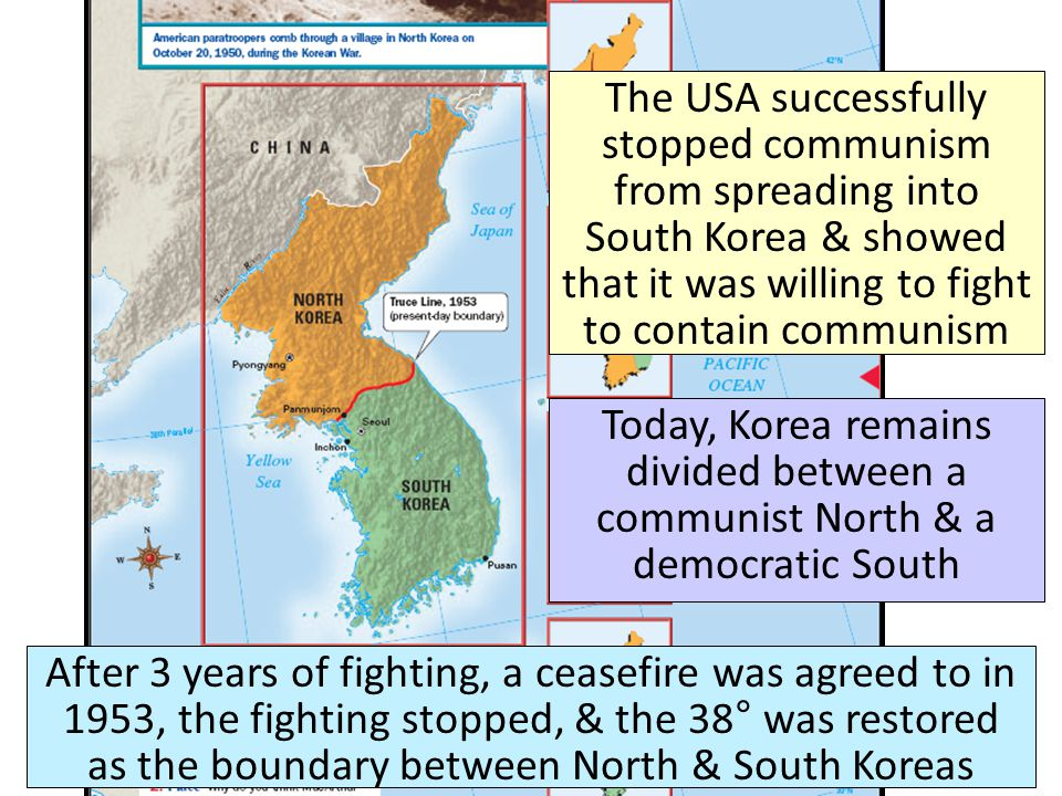 After 3 years of fighting, a ceasefire was agreed to in 1953, the fighting stopped, & the 38° was restored as the boundary between North & South Korea