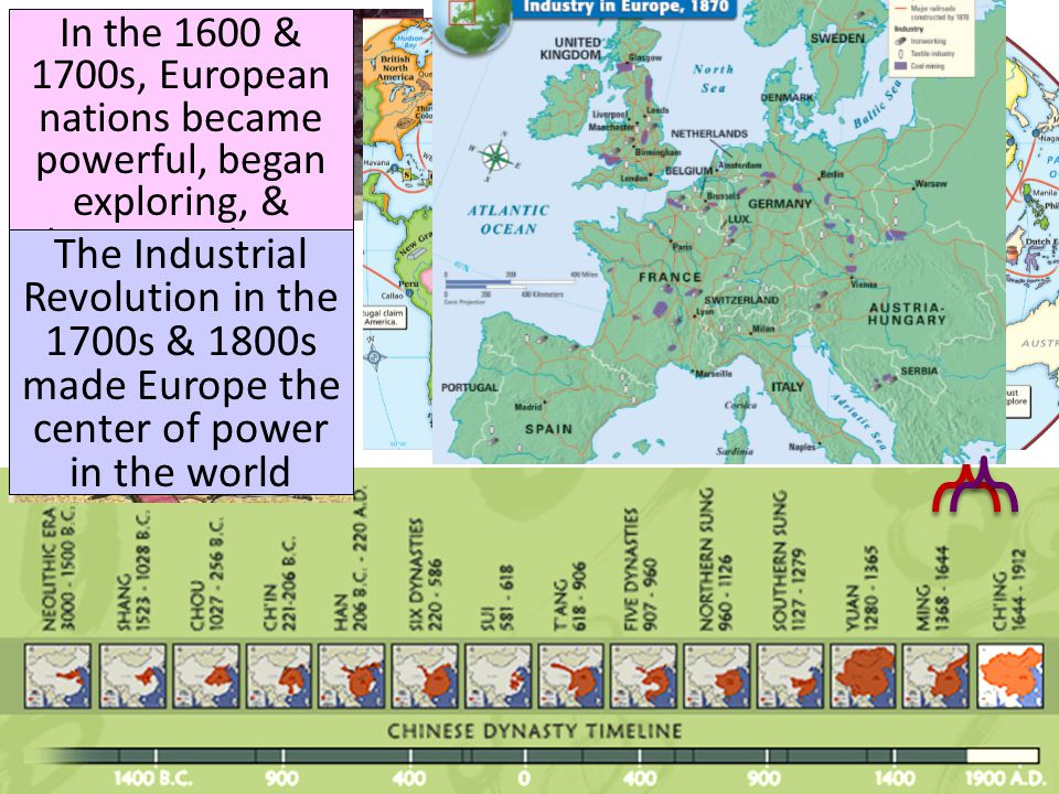 In the 1600 & 1700s, European nations became powerful, began exploring, & claiming colonies The Industrial Revolution in the 1700s & 1800s made Europe