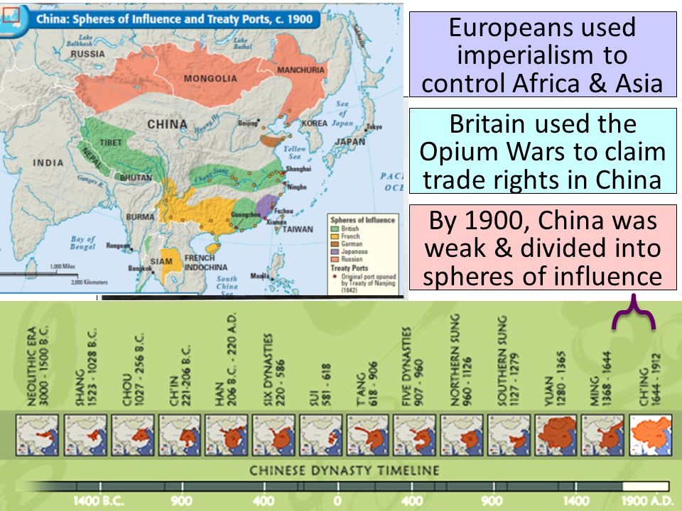 Europeans used imperialism to control Africa & Asia Britain used the Opium Wars to claim trade rights in China By 1900, China was weak & divided into
