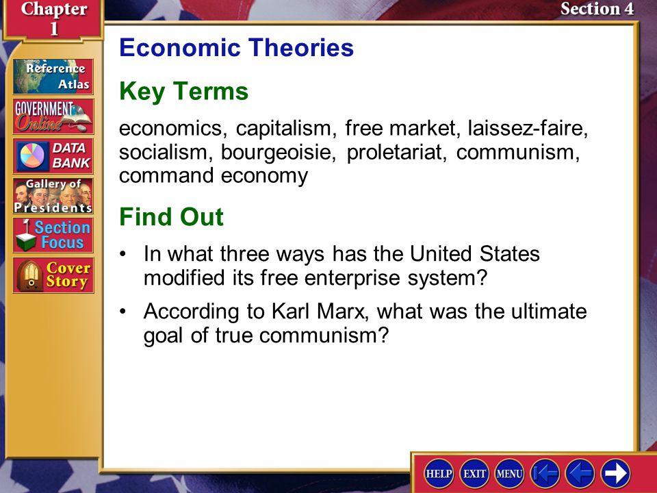 Section 4 Introduction-1 Economic Theories Key Terms economics, capitalism, free market, laissez-faire, socialism, bourgeoisie, proletariat, communism