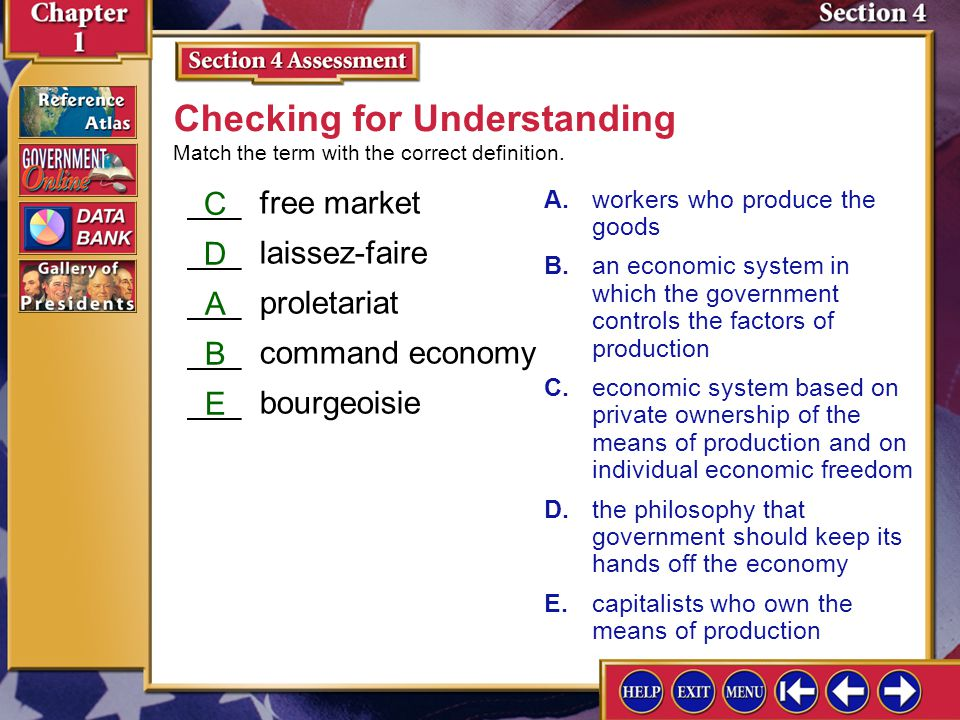 ___free market ___laissez-faire ___proletariat ___command economy ___bourgeoisie Section 4 Assessment-2 A.workers who produce the goods B.an economic