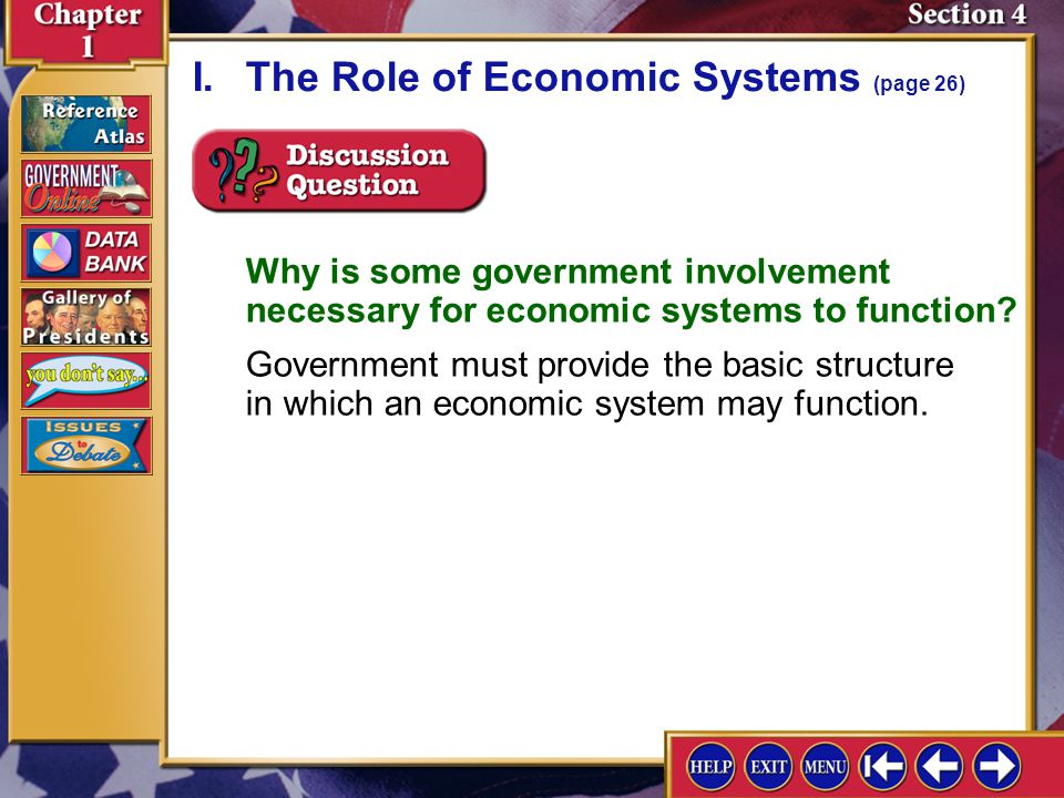 Section 4-3 Why is some government involvement necessary for economic systems to function? Government must provide the basic structure in which an eco