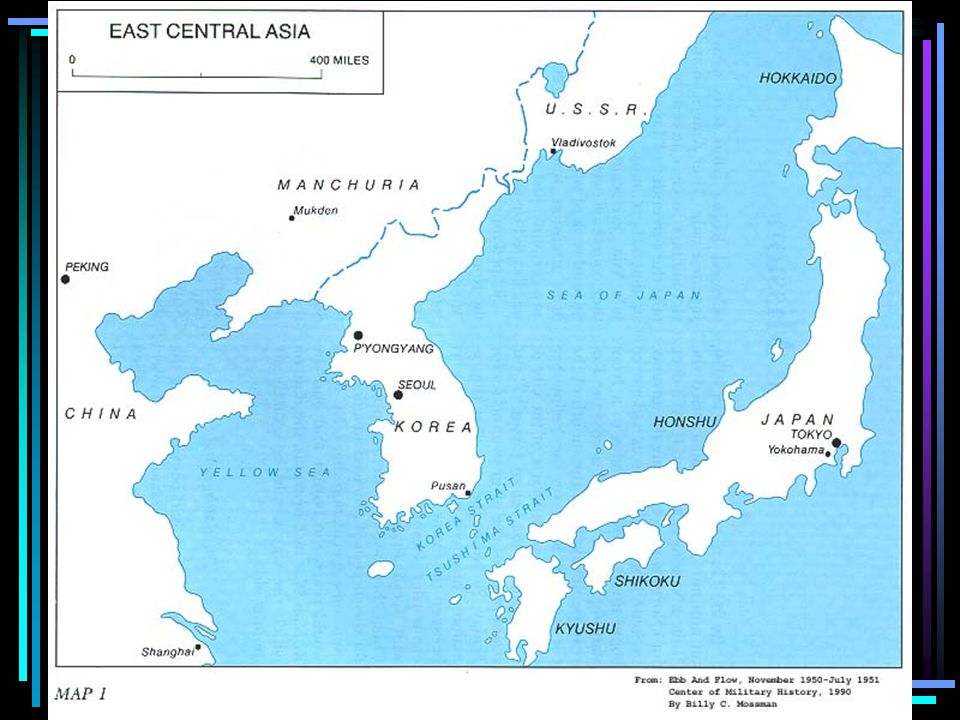 1945 – Korea controlled by Japan Soviets occupied the NORTH, America the SOUTH The two halves were divided by the 38 th Parallel 1947 – elections held in the South supported by the US; The North had its own govt.