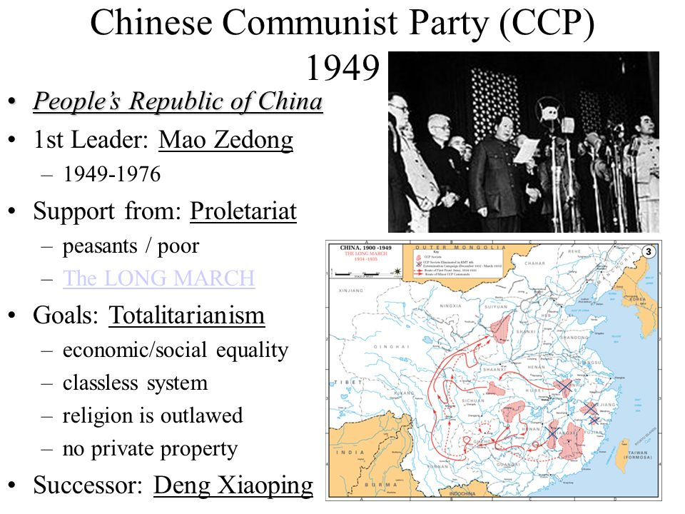 Chinese Communist Party (CCP) 1949 People's Republic of ChinaPeople's Republic of China 1st Leader: Mao Zedong –1949-1976 Support from: Proletariat –p