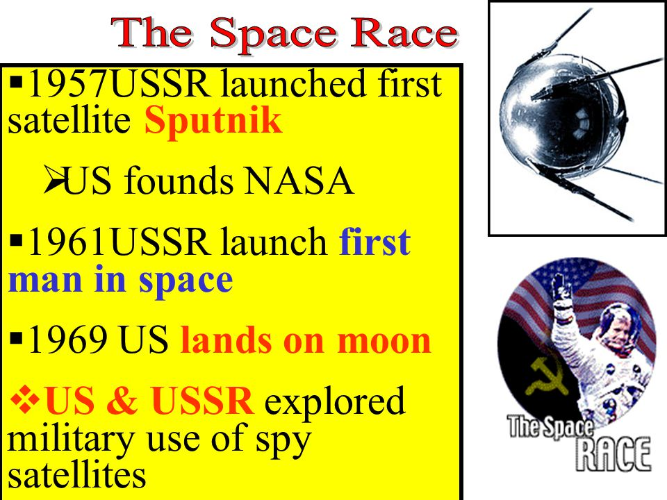  1957USSR launched first satellite Sputnik  US founds NASA  1961USSR launch first man in space  1969 US lands on moon  US & USSR explored military use of spy satellites