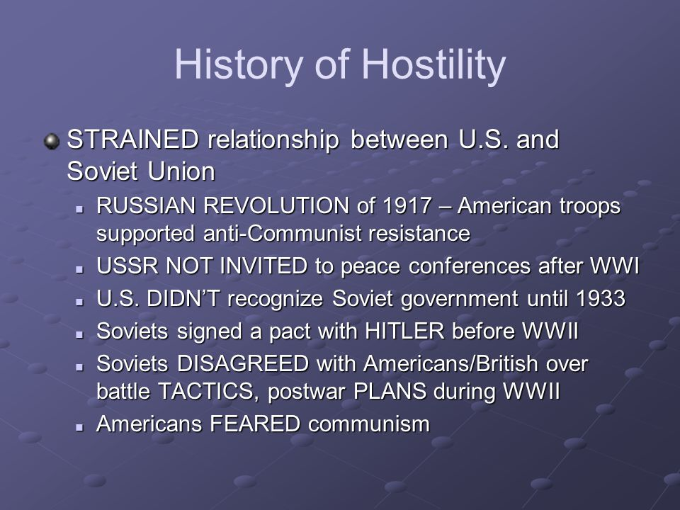 History of Hostility STRAINED relationship between U.S.