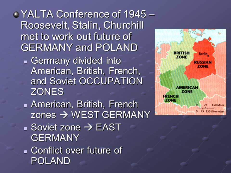YALTA Conference of 1945 – Roosevelt, Stalin, Churchill met to work out future of GERMANY and POLAND Germany divided into American, British, French, a
