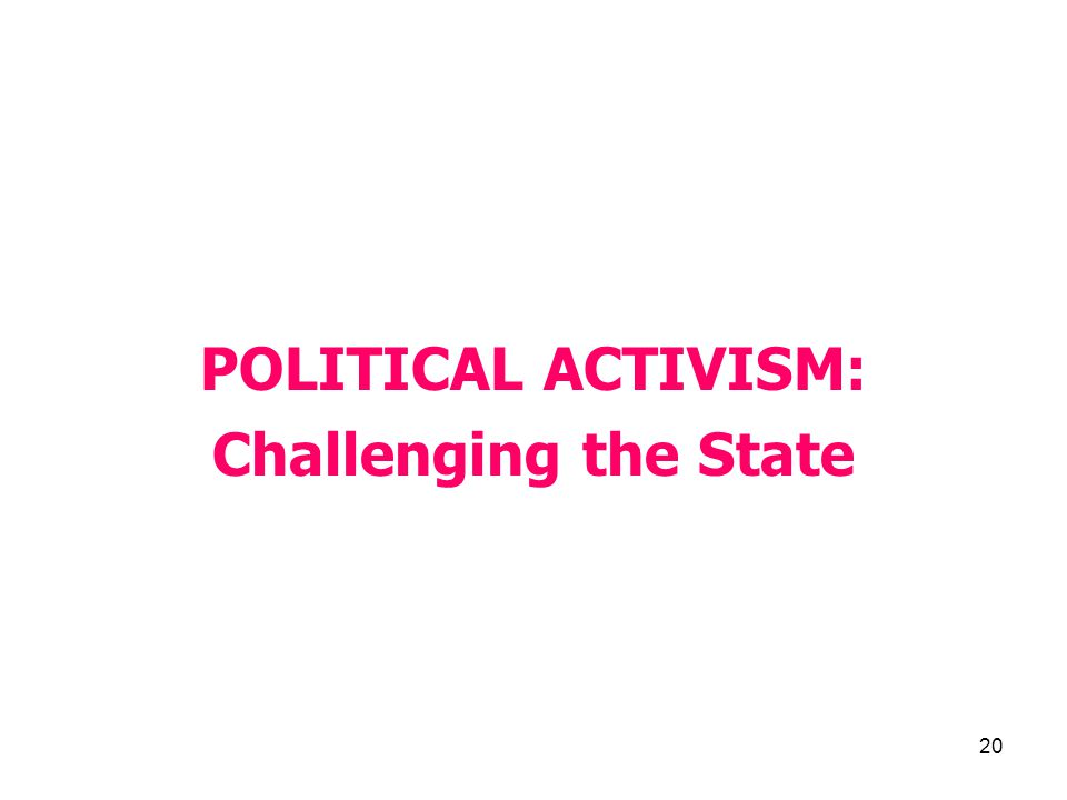 20 POLITICAL ACTIVISM: Challenging the State