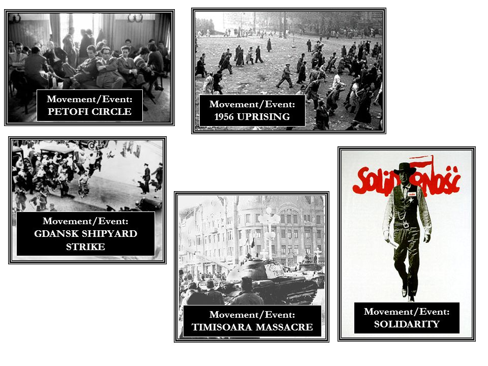 Movement/Event: PETOFI CIRCLE Movement/Event: 1956 UPRISING Movement/Event: SOLIDARITY Movement/Event: GDANSK SHIPYARD STRIKE Movement/Event: TIMISOARA MASSACRE