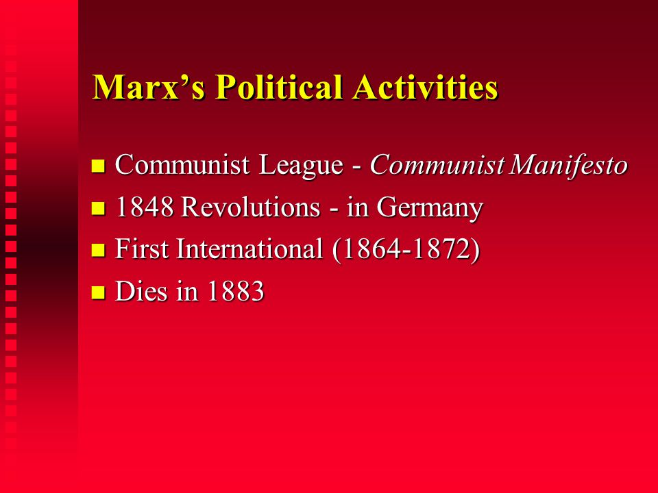 Marx's Political Activities Communist League - Communist Manifesto Communist League - Communist Manifesto 1848 Revolutions - in Germany 1848 Revolutio