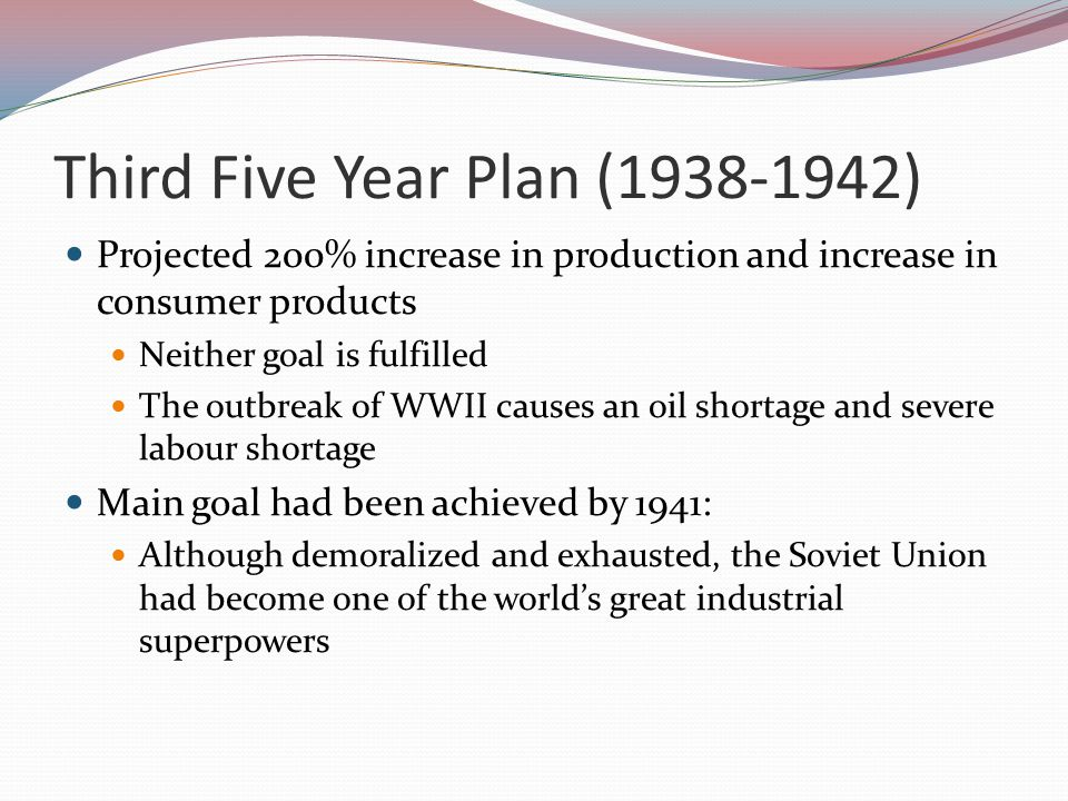 Second Five Year Plan (1933-1937) Had to be scaled down after one year Realization that a limit had been reached as to what the economy could do and what people could take Emphasis placed on improvement of efficiency and improving living standards Things got better for three years and then leveled off Due to increased emphasis on military production and chaos of the Great Purges