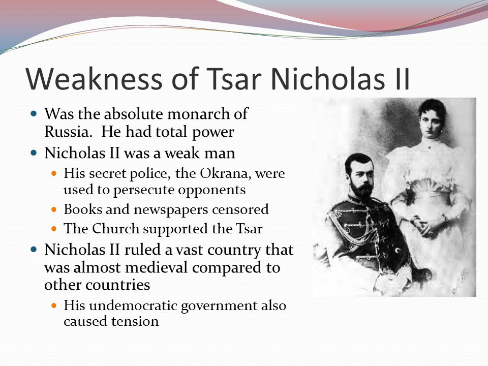 Weakness of Tsar Nicholas II Failure of the Duma Discontent of the workers Failures during WWI Rasputin and Scandal Opposition of the Communists February Revolution, 1917