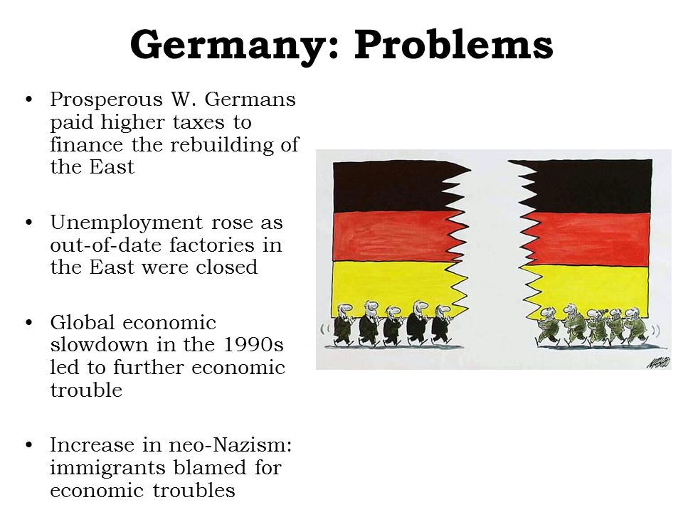Germany: Problems Prosperous W. Germans paid higher taxes to finance the rebuilding of the East Unemployment rose as out-of-date factories in the East