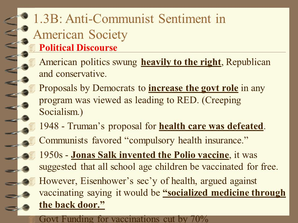 1.3B: Anti-Communist Sentiment in American Society 4 Political Discourse 4 American politics swung heavily to the right, Republican and conservative.