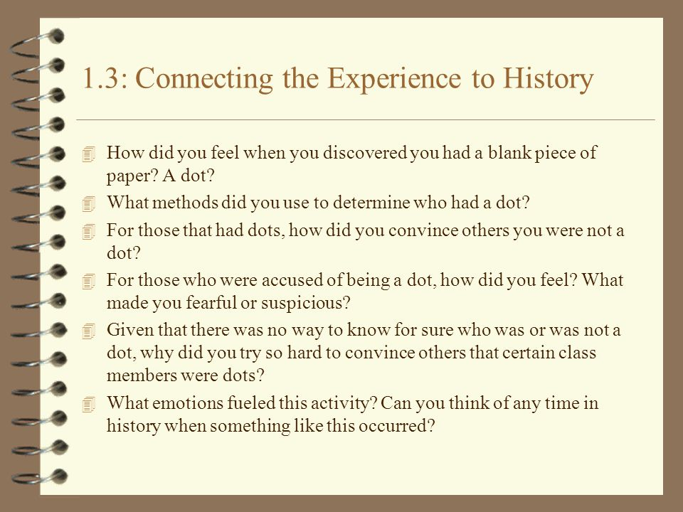1.3: Connecting the Experience to History 4 How did you feel when you discovered you had a blank piece of paper.