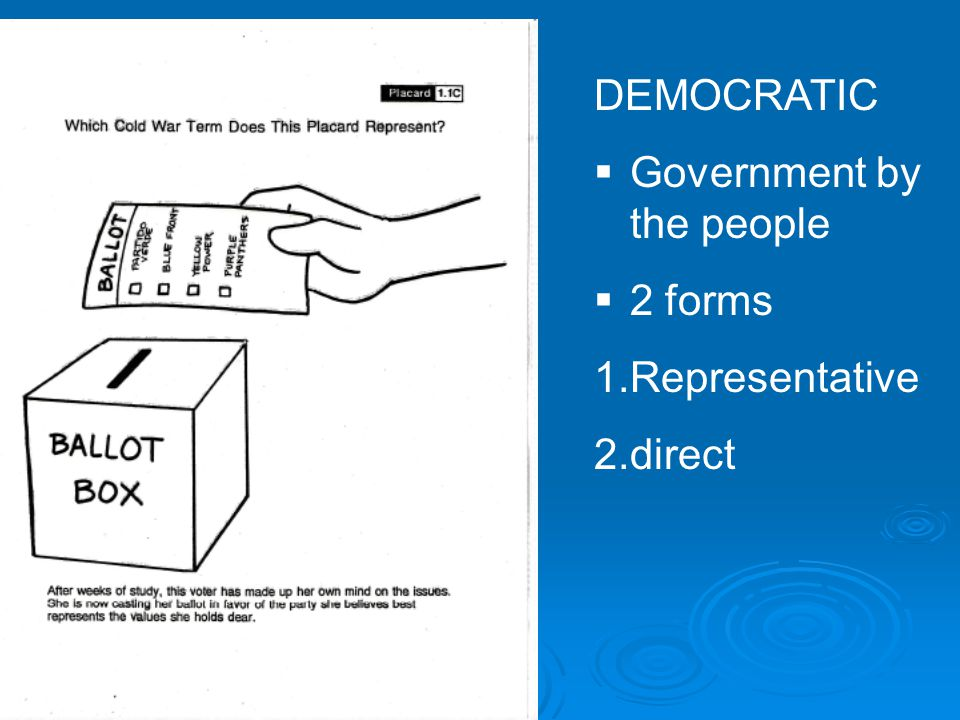 DEMOCRATIC  Government by the people  2 forms 1.Representative 2.direct