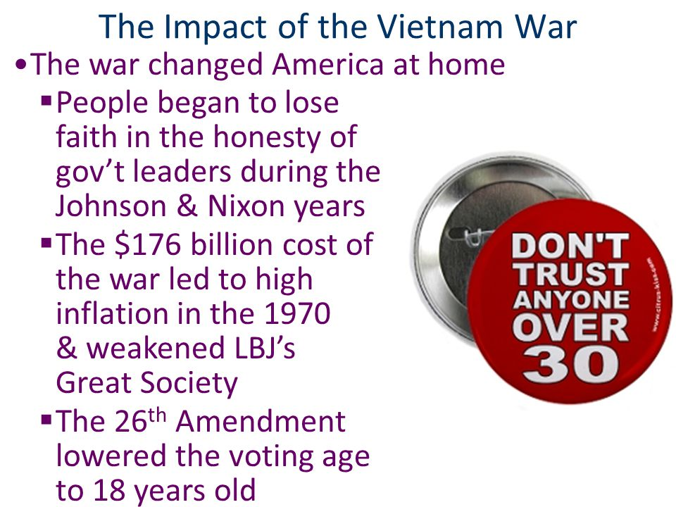 Closure Activity: Create a timeline of Vietnam events; For each date, include a description & image 1954— 1963— 1964— 1965— 1968— 1969— 1970— 1973— 1975— 1954—Vietnam gained independence 1963—Kennedy gave OK to assassinate Diem 1964—Gulf of Tonkin Resolution 1965—LBJ ordered 1 st U.S.