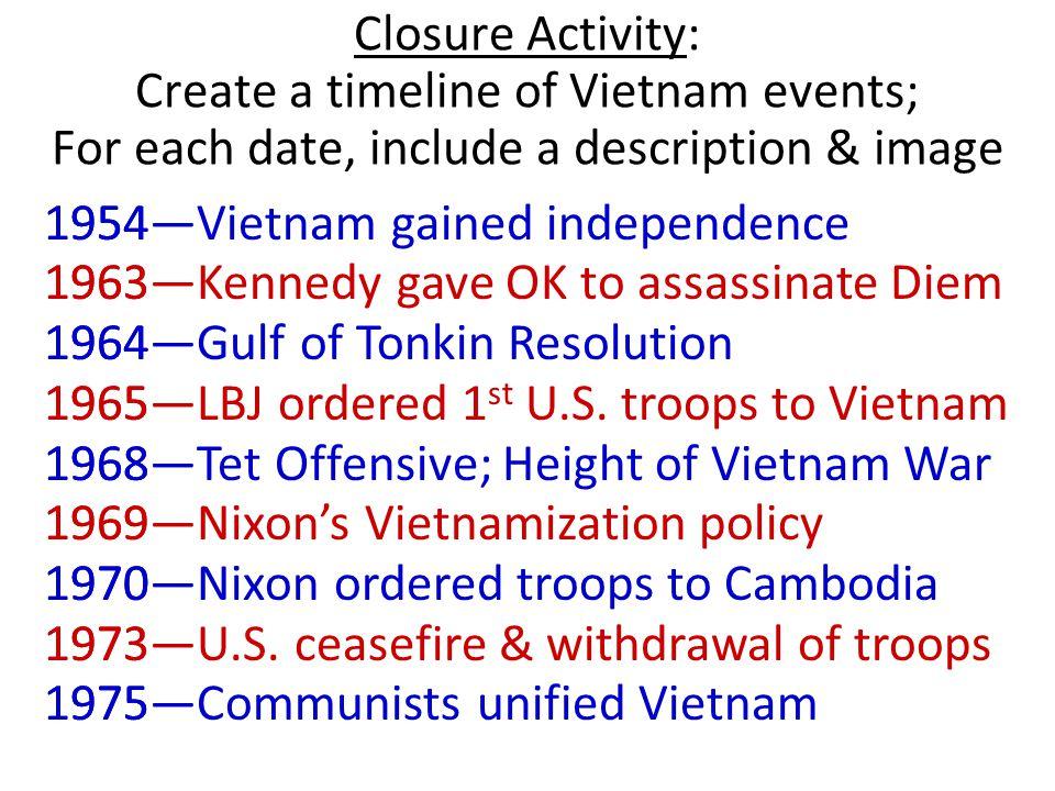 Closure Activity: Create a timeline of Vietnam events; For each date, include a description & image 1954— 1963— 1964— 1965— 1968— 1969— 1970— 1973— 19
