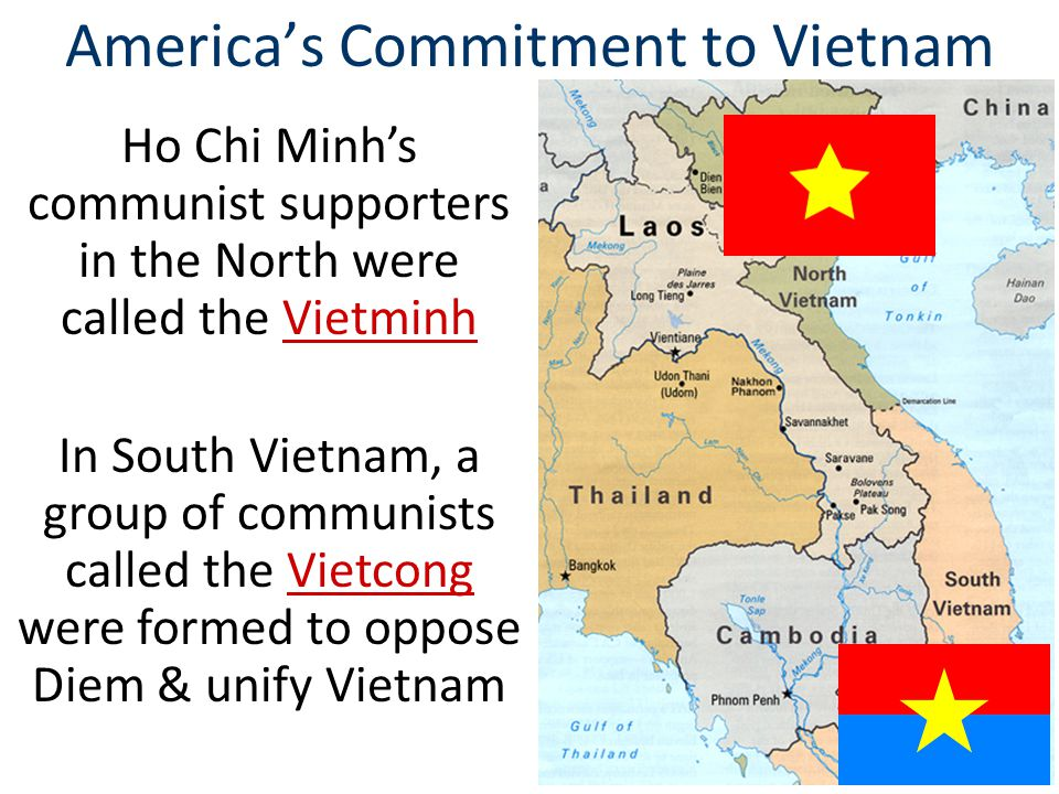 South Vietnamese President Diem led a corrupt government, offered little assistance to the poor, & oppressed Buddhists Presidents Eisenhower & Kennedy supported Diem despite his growing unpopularity America's Commitment to Vietnam In 1963, Buddhist monk Quang Duc immolated himself to protest Diem's regime In 1963 President Kennedy recognized that Diem had lost control of Vietnam & gave approval for the assassination of Diem Strongly in our mind is what happened in China at the end of World War II, where China was lost.