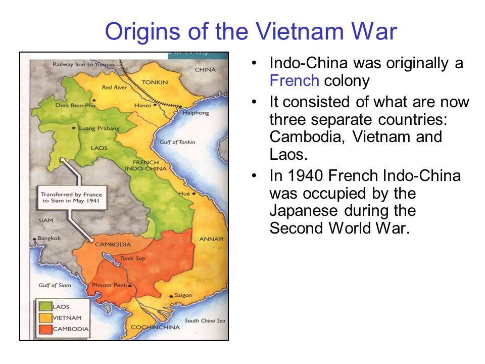 Indo-China was originally a French colony It consisted of what are now three separate countries: Cambodia, Vietnam and Laos.