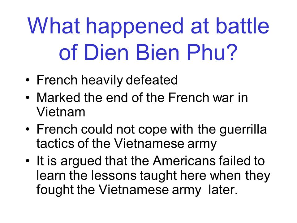 The French War in Vietnam, 1946-54 Predictably war broke out in 1946 between the French, who wanted Vietnam back, and the Vietnamese, led by Ho Chi Minh, who wanted to rule it themselves as an independent country.