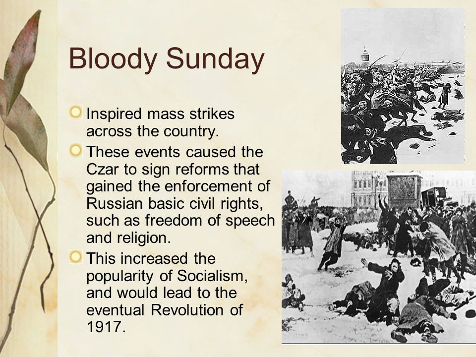 Bloody Sunday Inspired mass strikes across the country.