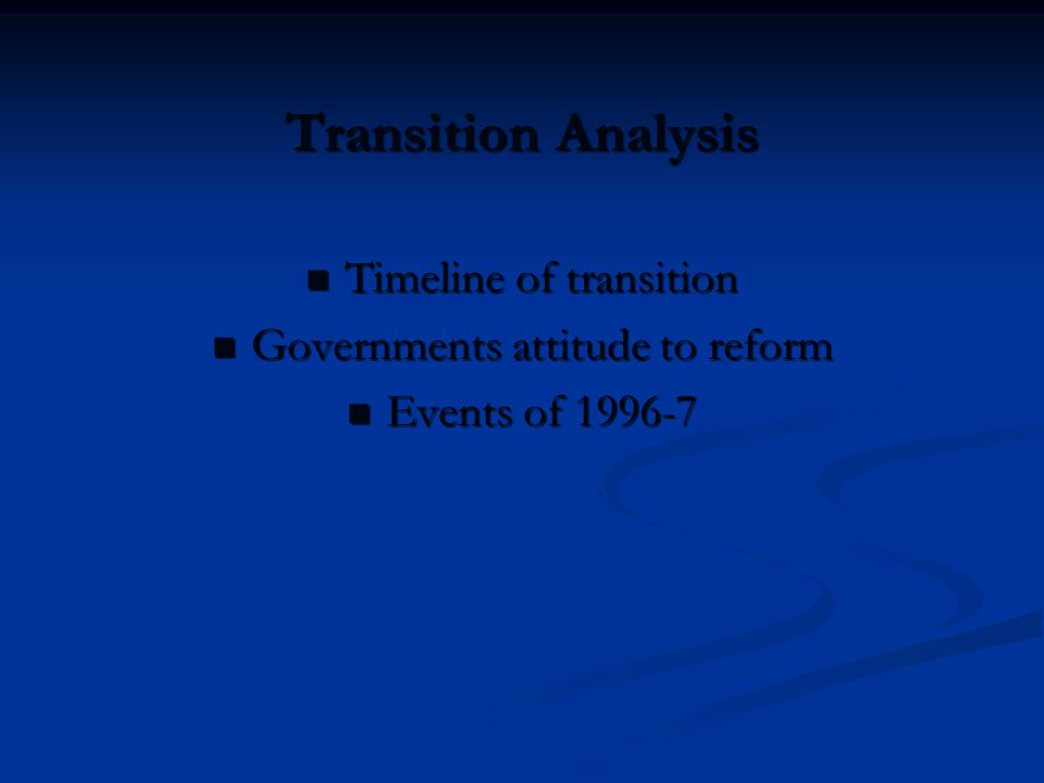 The Accession Process Role of EU in transition process Role of EU in transition process The Accession Process of Romania and Bulgaria The Accession Process of Romania and Bulgaria Economic, political and institutional reform Economic, political and institutional reform