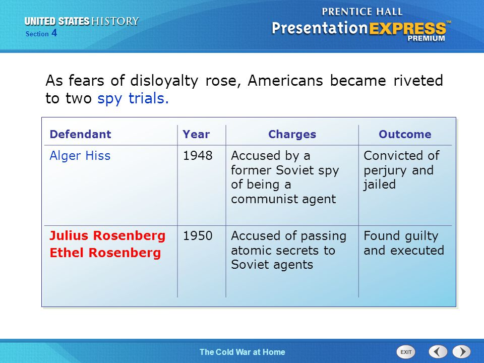 The Cold War BeginsThe Cold War at Home Section 4 As fears of disloyalty rose, Americans became riveted to two spy trials.