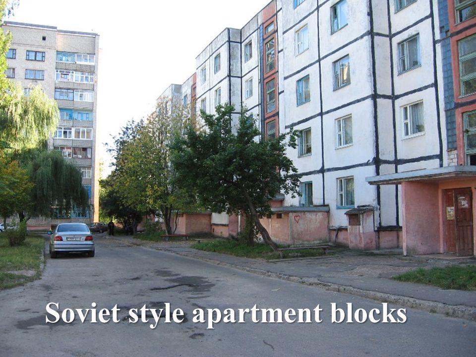 Soviet style apartment blocks