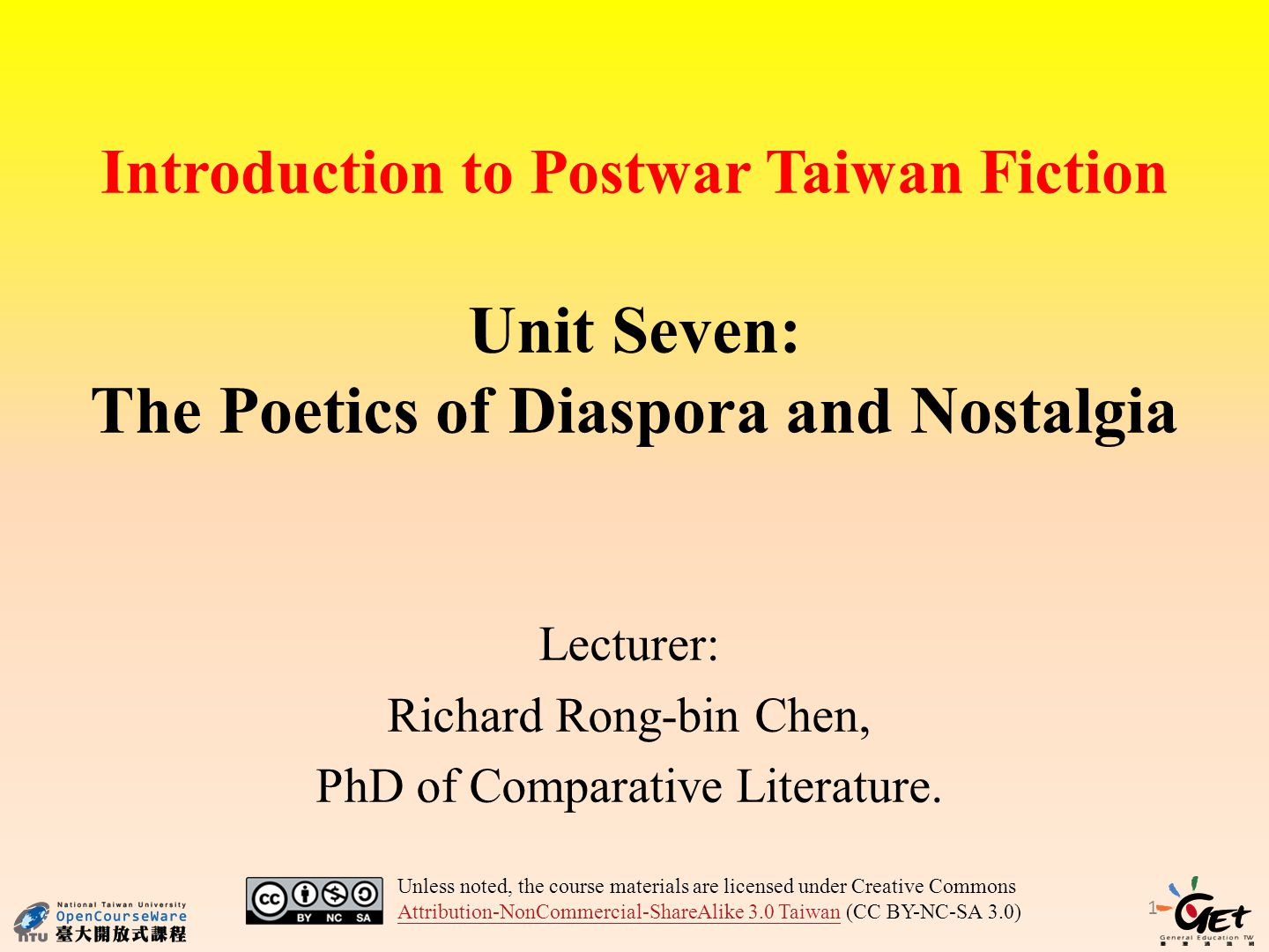 Introduction to Postwar Taiwan Fiction Unit Seven: The Poetics of Diaspora and Nostalgia Lecturer: Richard Rong-bin Chen, PhD of Comparative Literature.