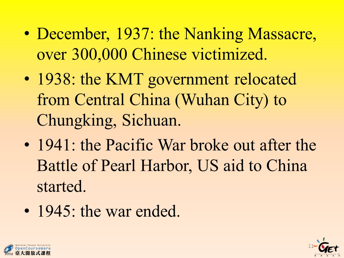 December, 1937: the Nanking Massacre, over 300,000 Chinese victimized.