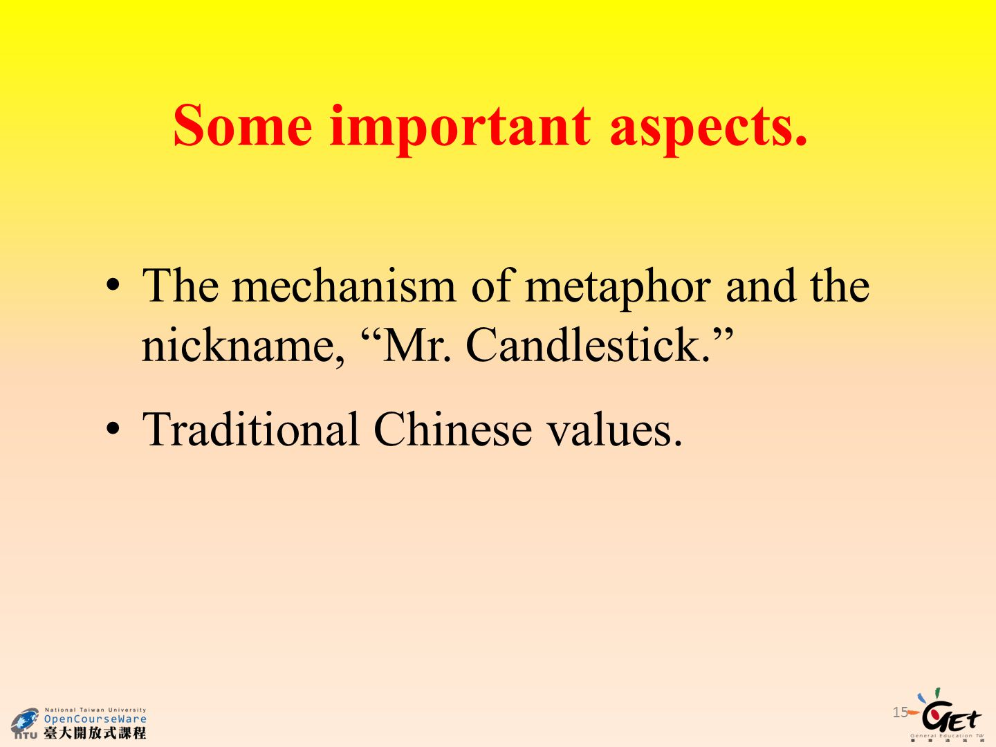 Some important aspects. The mechanism of metaphor and the nickname, Mr.