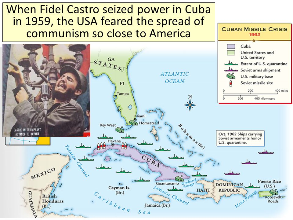 When Fidel Castro seized power in Cuba in 1959, the USA feared the spread of communism so close to America