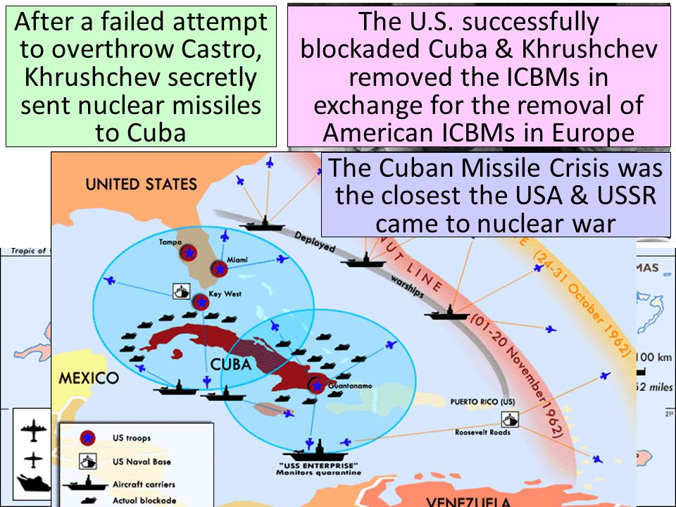 After a failed attempt to overthrow Castro, Khrushchev secretly sent nuclear missiles to Cuba The U.S.