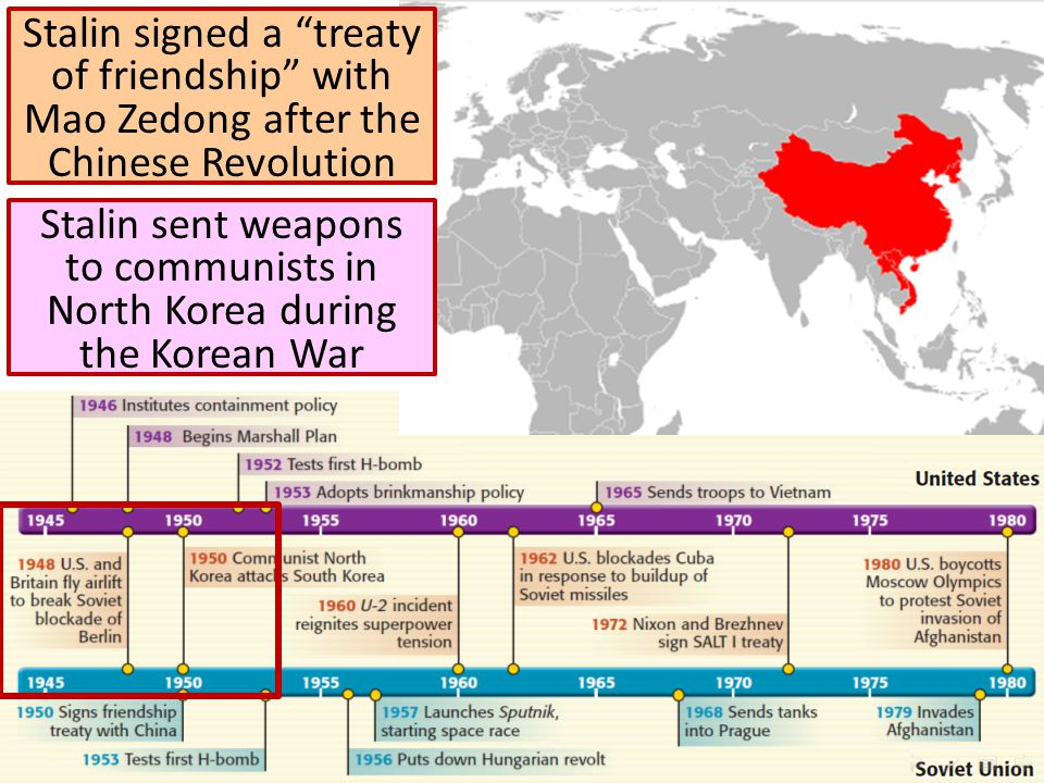 Stalin signed a treaty of friendship with Mao Zedong after the Chinese Revolution Stalin sent weapons to communists in North Korea during the Korean War