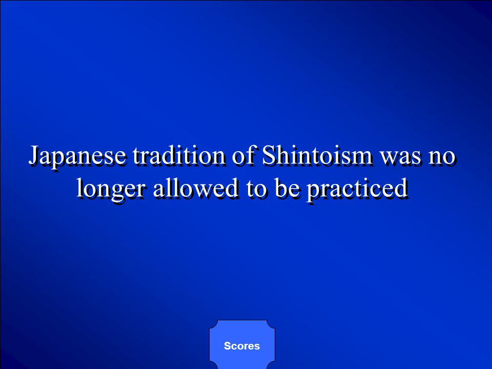 © Mark E. Damon - All Rights Reserved Which of the following was NOT one of the provisions of Japan's 1947 constitution? A. Japanese Emperor was strip