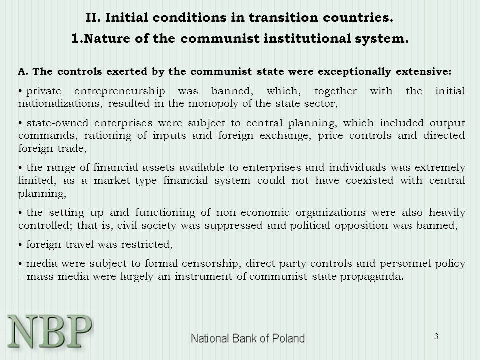 3 II. Initial conditions in transition countries.