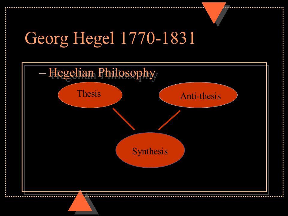 Georg Hegel 1770-1831 –Hegelian Philosophy Thesis Anti-thesis Synthesis