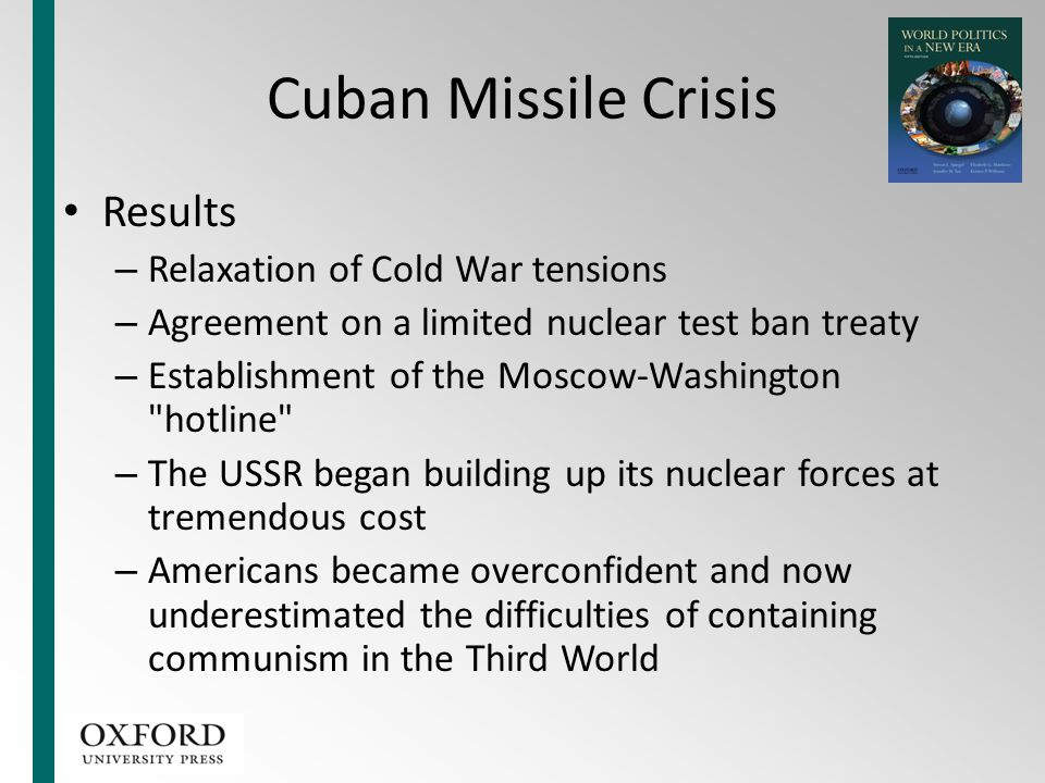Cuban Missile Crisis Results – Relaxation of Cold War tensions – Agreement on a limited nuclear test ban treaty – Establishment of the Moscow-Washingt